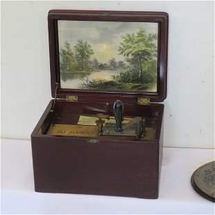 "Ca. 1890 Regina music box with 8"" tin disks"