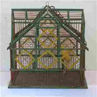Folk art painted wood bird cage