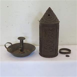Punched tin candle lantern & tin chamberstick