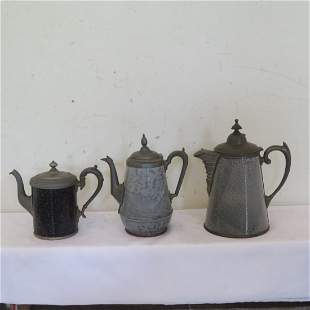 3 enameled coffee pots with pewter trim