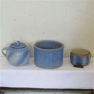 Boston Baked Beans pot and 2 blue butter crocks