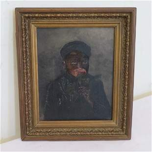 O/C painting of black boy smelling a rose signed