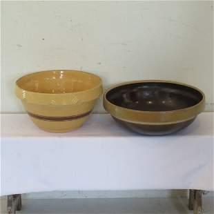 2 large crock bowls