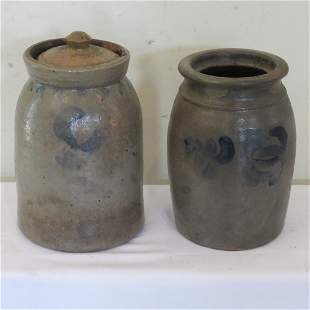 2 large stoneware wax sealers with freehand blue decor