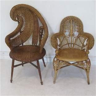 2 Victorian wicker ornate photographer's chairs
