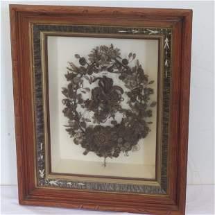 Victorian hair wreath in shadow box walnut frame