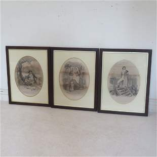 3 framed lithograph Charles Dickens characters