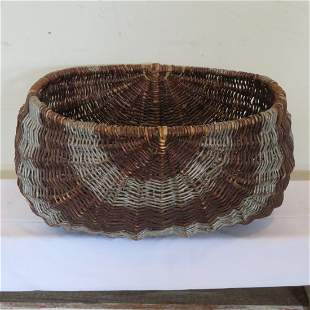 Large willow 2 handled basket natural w/gray stripes