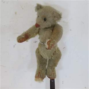 """Early 10"""" teddy bear with shoe button eyes"""