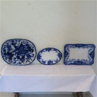 3 flow blue platters