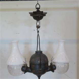 Hanging double angle lamp