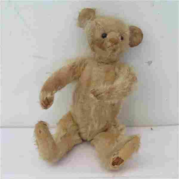 "Early 9"" straw stuffed teddy bear with shoe button eyes"