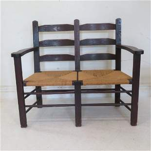 Oak arts and crafts 2 seat bench with rush seats