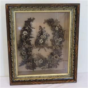 Large Victorian hair wreath in ornate shadow box frame