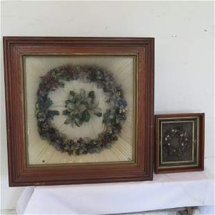 2 Folk Art wreaths, feather and canvas, shadow box