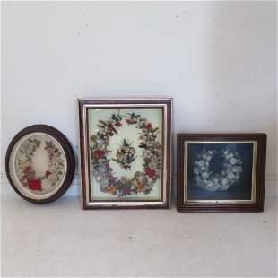 3 Folk Art wreaths in shadow box frames
