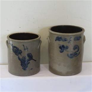 2 blue decorated stoneware jars 4 and 6 gal
