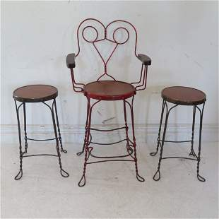 3 ice cream bar stools, one with back
