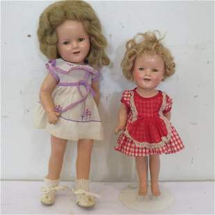 """2 Ideal Shirley Temple composition dolls, 11"""" and 15"""""""