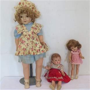 3 composition dolls