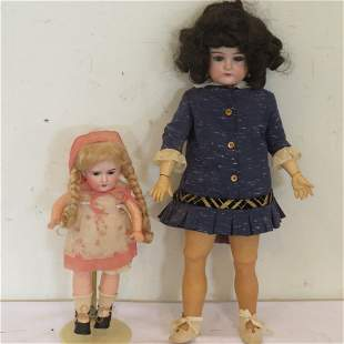 """2 bisque dolls, 20"""" and 12"""""""