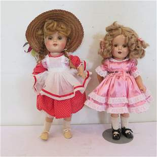 """2 composition dolls, 17"""" and 15"""""""