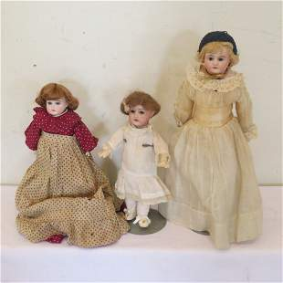 3 German bisque dolls