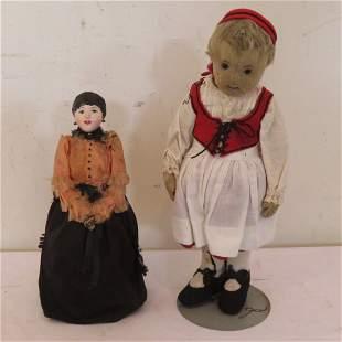 "12"" felt covered Lenci type doll and 10"" gypsy doll"