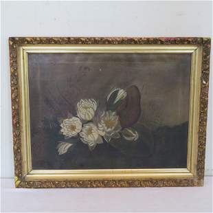 O/C still life of water lilies unsigned