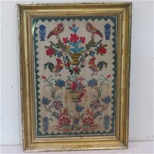 Framed Victorian needlepoint