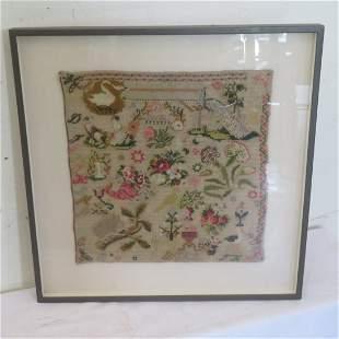 Framed Victorian needlework