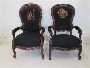 2 walnut Victorian arm chairs