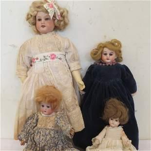 4 German bisque antique dolls