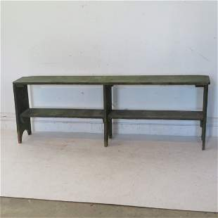 Pine bench in old green paint