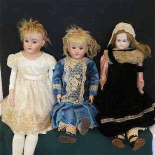 3 large German bisque dolls