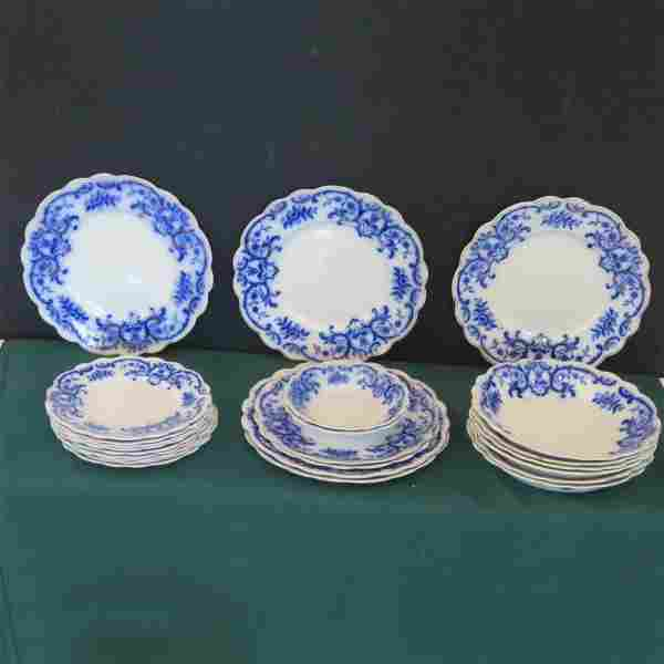 24 pieces of Portman flow blue china