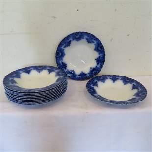 """12 Clifton flow blue 9 1/2"""" soup bowls"""