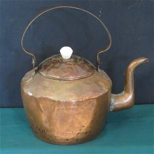 Early American goose neck copper teakettle