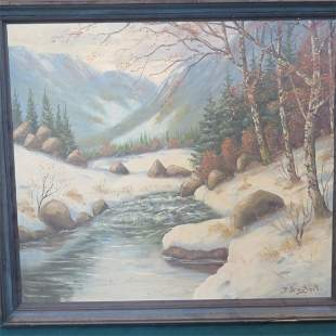 Oil mountain landscape painting