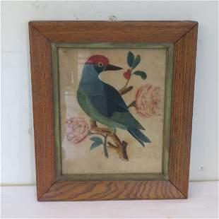 Folk art painting on velvet of bird