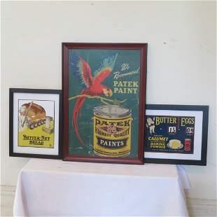 3 framed advertisements