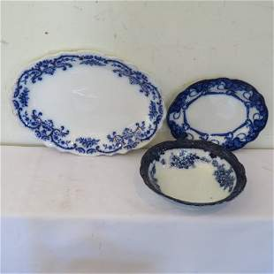3 pieces of flow blue china