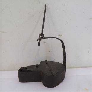 Early iron betty lamp signed A.D. Post