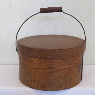 Wood pantry box with wire bail and wood handle