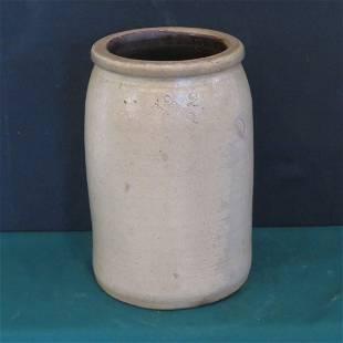 George Husher 2 gal. stoneware jar, Clay Co., Ind.