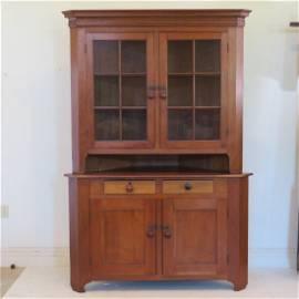 Circa 1830 2 pcs cherry  corner cupboard (Ohio?)