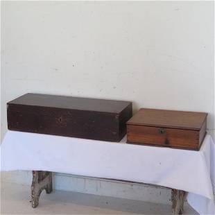 2 dovetailed wooden boxes