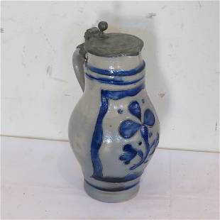 German Westerwald stoneware pitcher with pewter lid