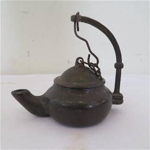 18th century bronze tea kettle shaped oil lamp