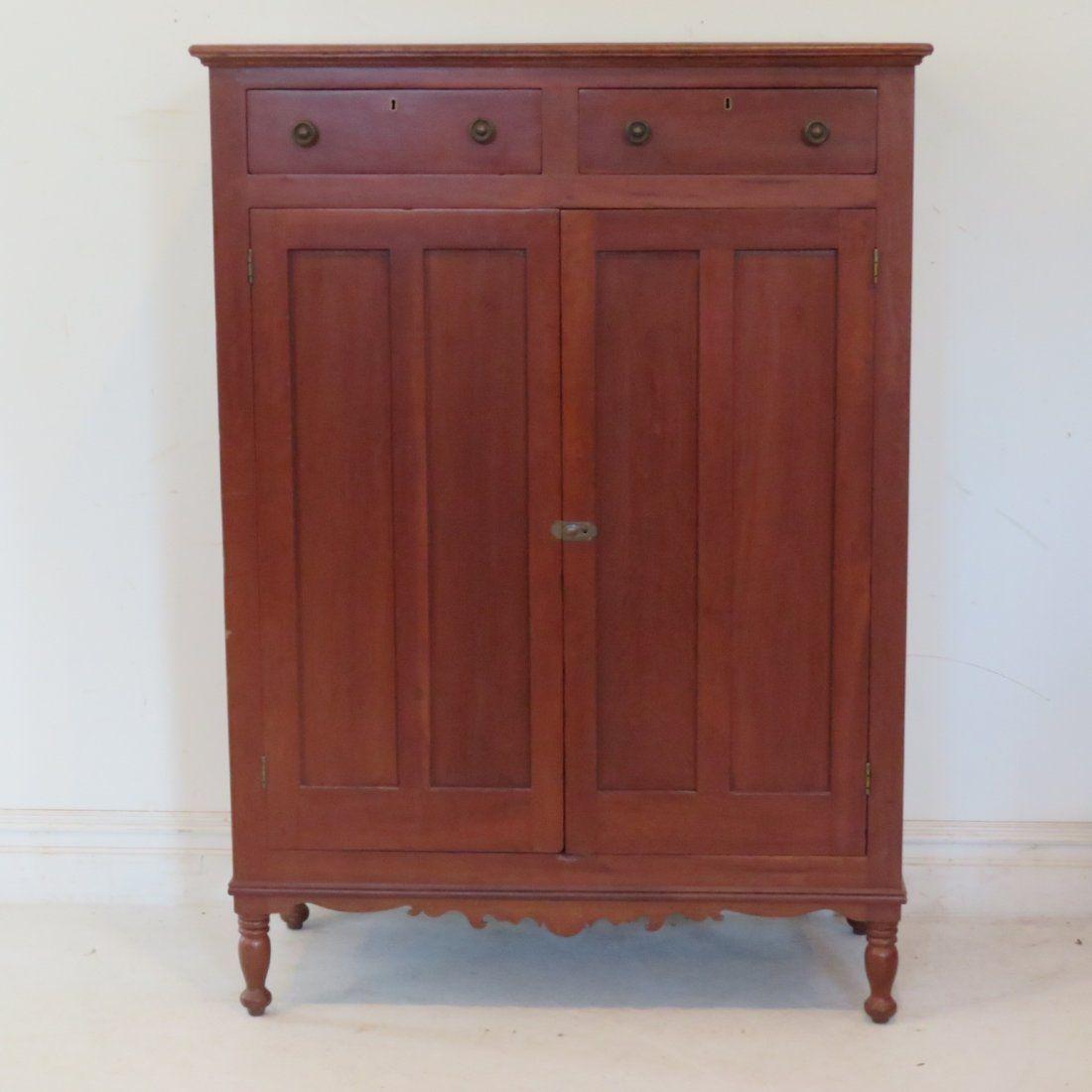 Cherry & poplar jelly cupboard with 2 drawers